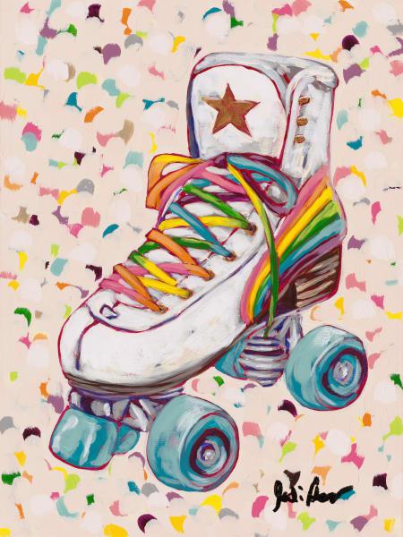 Fine art print of a retro rainbow roller skate.