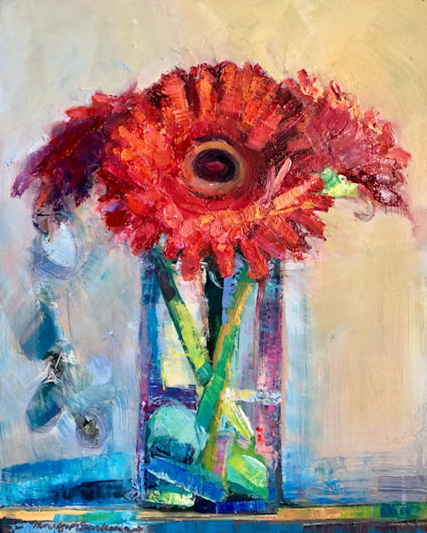 """Together Still Life with 3 Red Gerbera Daisies"" expressionist oil painting by Monique Sarkessian"