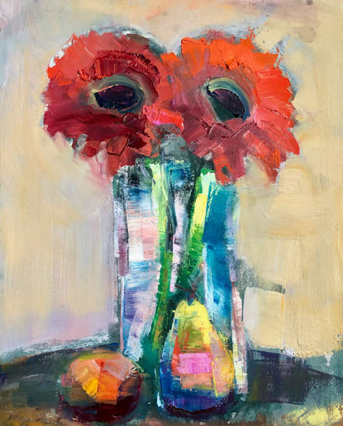 """Together Still Life with 2 Red Gerbera Daisies, Pear and Mandarin:"" expressionist oil and cold wax painting by Monique Sarkessian."