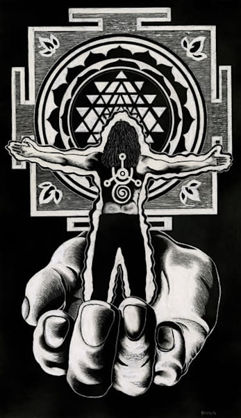 prayer hands, prayer series, sri yantra