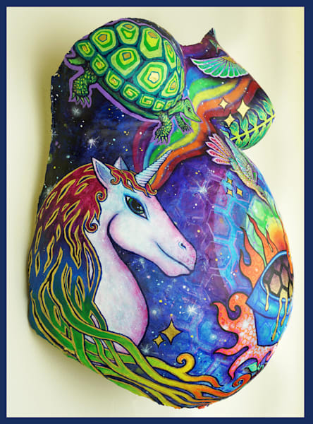 Jazz Belly Cast Unicorn Side Blue Border Art | Adelaide Marcus