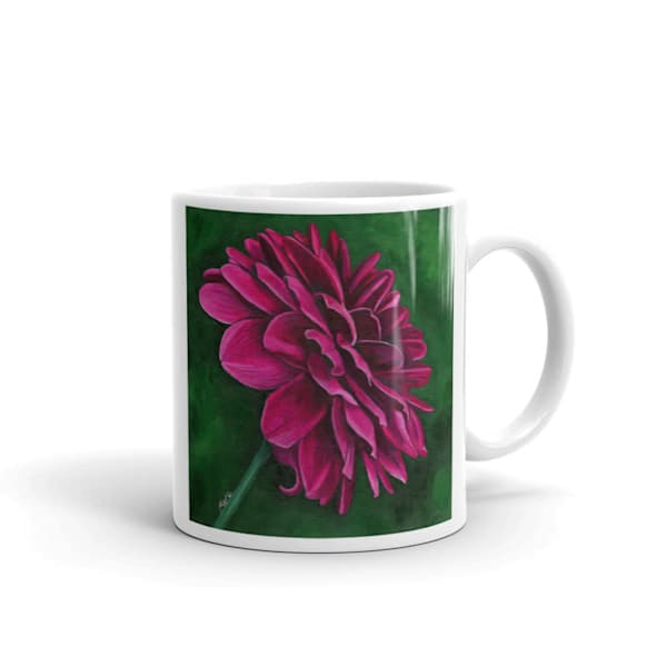 Mare's Mugs - ceramic coffee mug printed with bright and colorful Mare's art artwork of Delightful Dahlia.