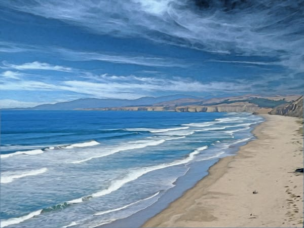 Pescadero Beach, print of photograph of Pescadero Beach, Pescadero State Park, California for sale as digital art by Maureen Wilks