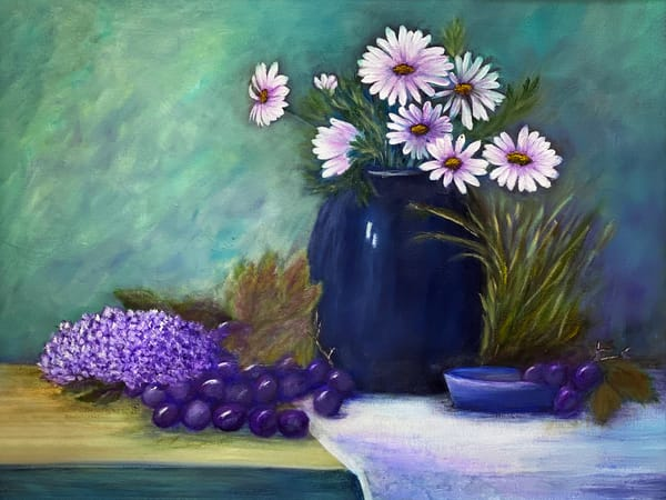 K Pugh   Flowers In A Blue Vase Art | Branson West Art Gallery - Mary Phillip
