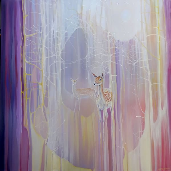 large oil on canvas semi abstract painting with two spotted fallow deer in a woodland clearing.