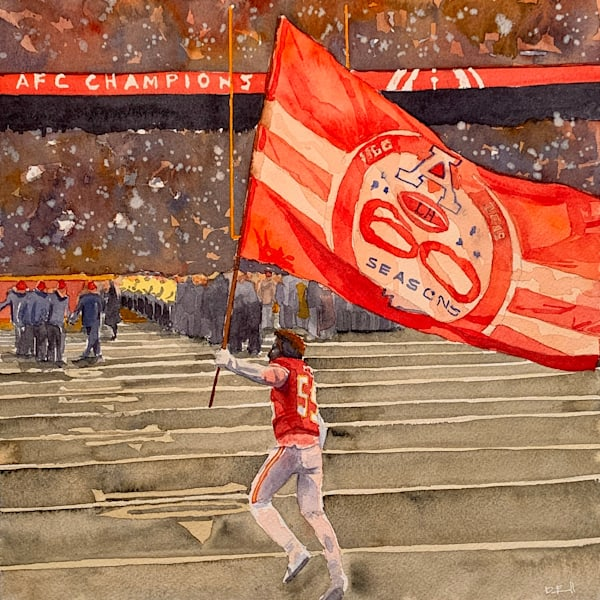 chiefs, watercolor, frank-clark, sports-art