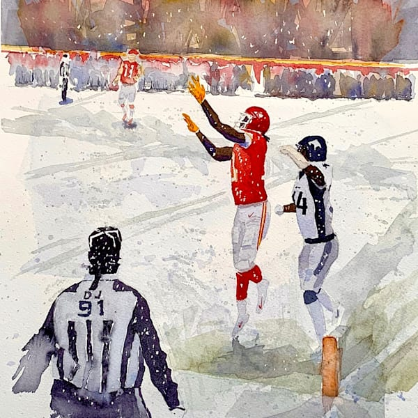 chiefs, touchdown, watercolor