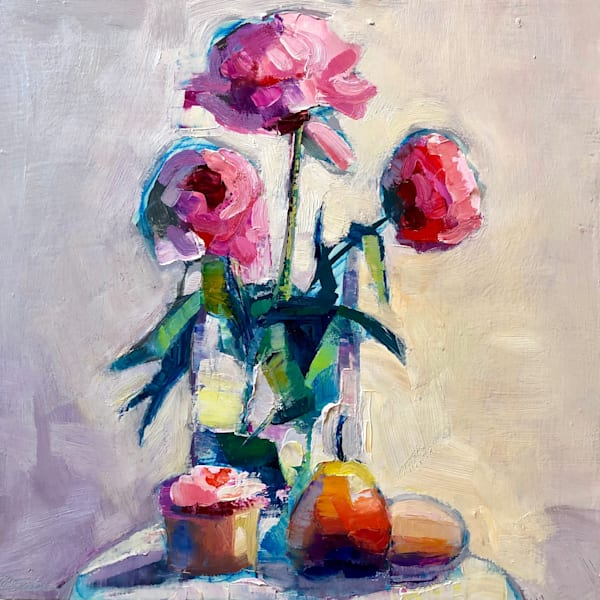 """Still Life with Pink Peony Trio Cupcake, Forelle Pear and Egg"" expressionist-impressionist still life oil painting by Monique Sarkessian."