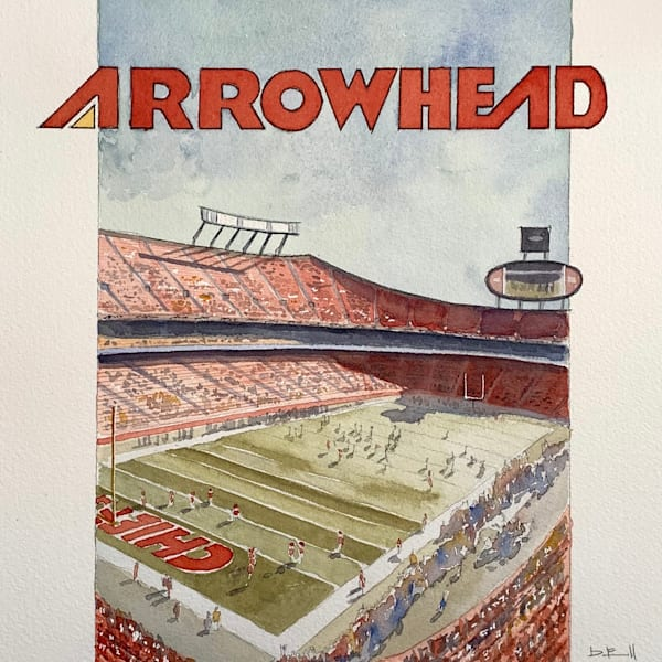 watercolor, arrowhead, chiefs, stadium, artwork