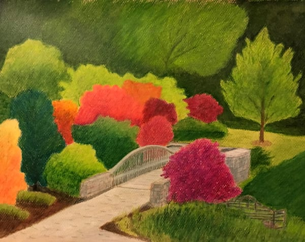 Garden Bridge in Fall, From an Original Colored Pencil Painting