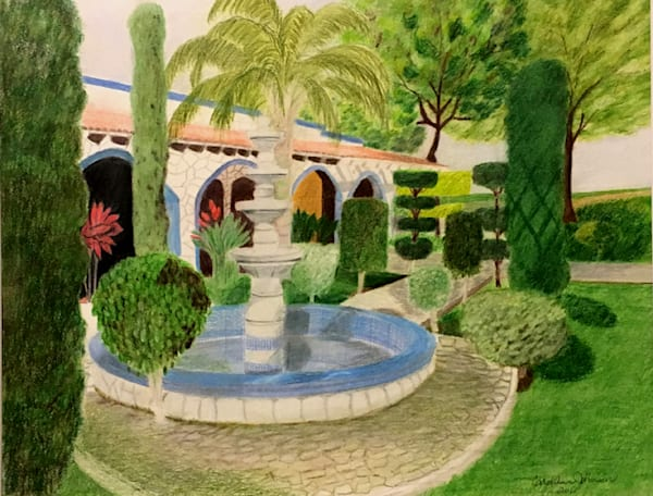 The Hacienda, From an Original Colored Pencil Painting