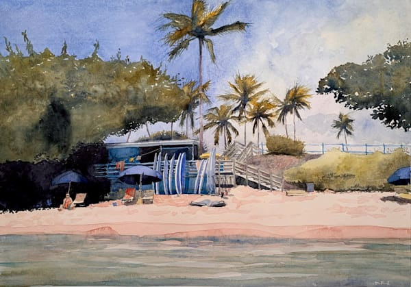 watercolor, maui, kapalua-bay, hawaii