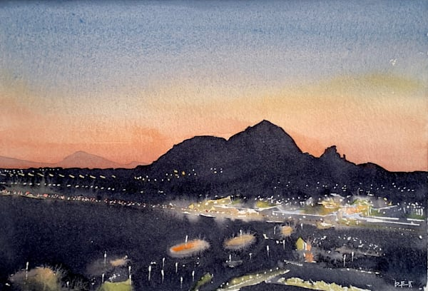 watercolor, scottsdale, magic-hour, sunset