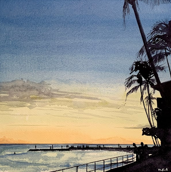 magic-hour, watercolor, waikiki, halekulani