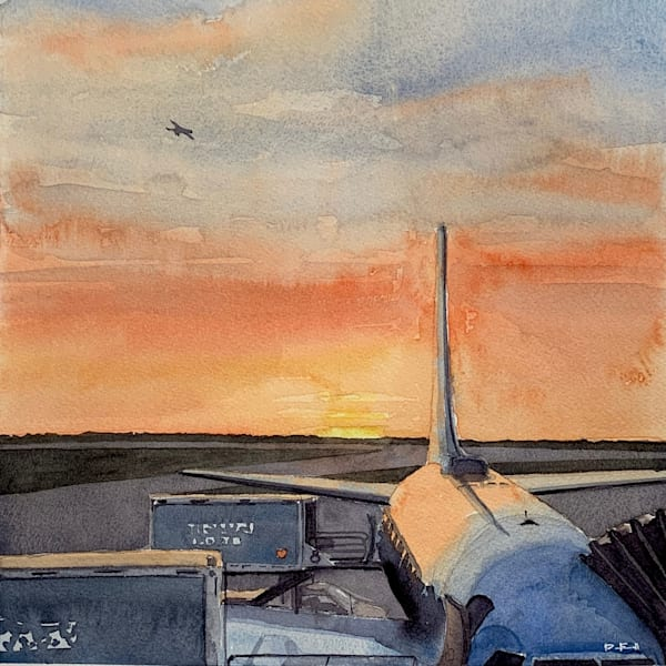watercolor, magic-hour, sunrise, airplanes