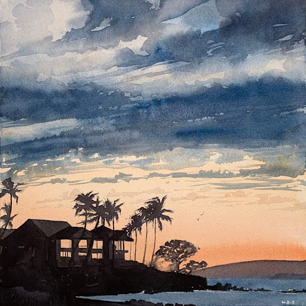 watercolor, wailea, maul, magic-hour