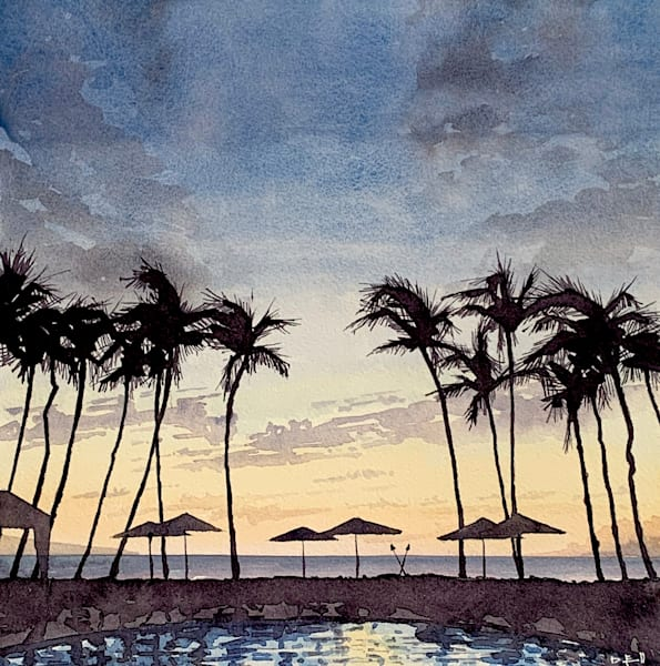 watercolor, grand-wailea, magic-hour