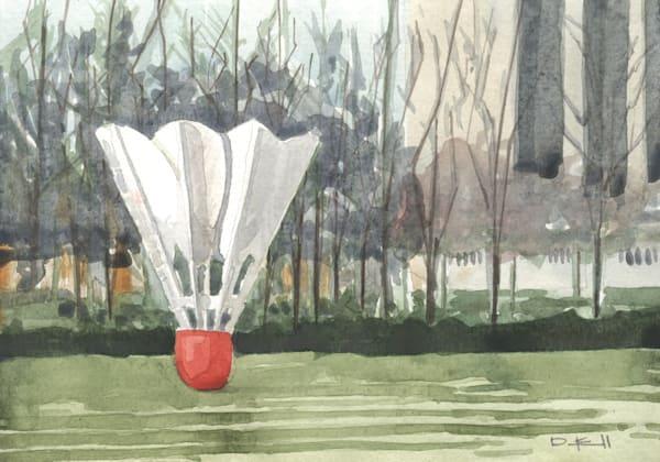 watercolor, shuttlecock, kansas-city