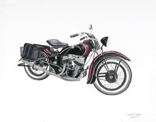 1930's Harley Knucklehead, Original Colored Pencil Painting