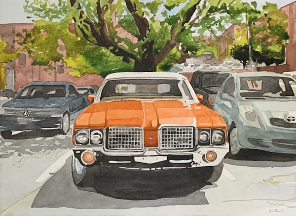 watercolor, kansas-city, oldsmobile, classic-car