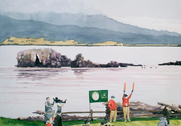 pebble-beach, golf, watercolor, art, rolex, us-open, california