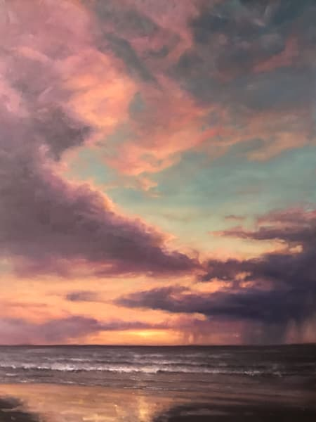 Beach, Sunset, clouds, painting, landscape, Cannon Beach, Oregon