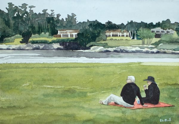 watercolor, art, pebble-beach, us-open, golf, california