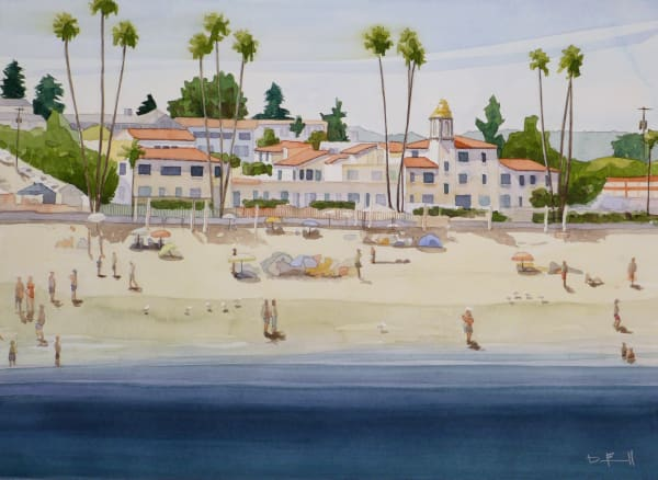 watercolor, beach, california, santa-cruz