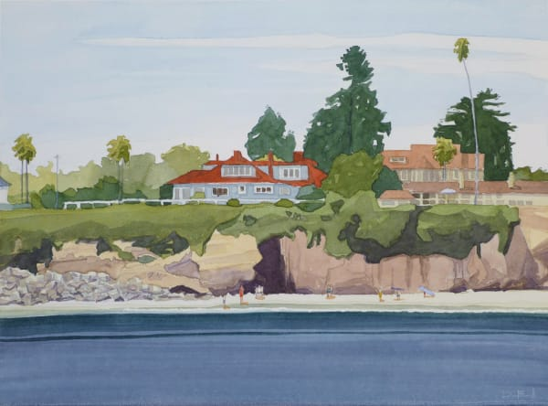 california, surf, watercolor, beach, santa-cruz