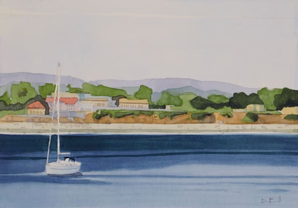 watercolor, california, seabright, beach, sailboat
