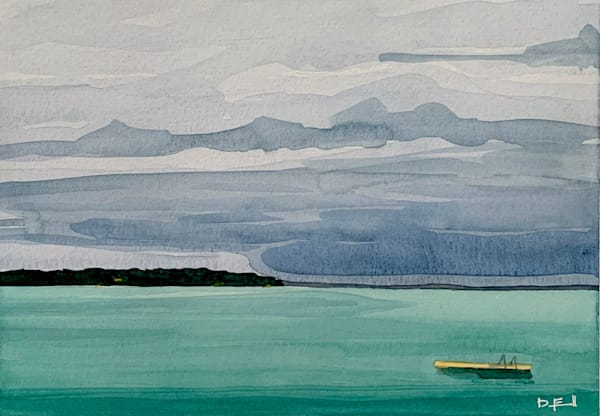 watercolor,  michigan, lake, stormy, suttons-bay