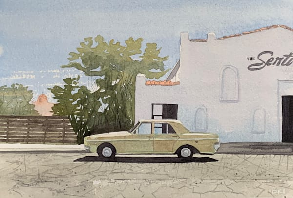 marfa, watercolor, tx, texas, sentinel, art