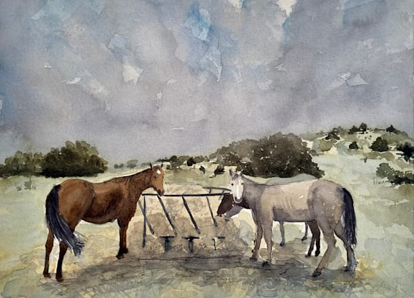 horses, horse, marfa, texas, tx watercolor, western, art