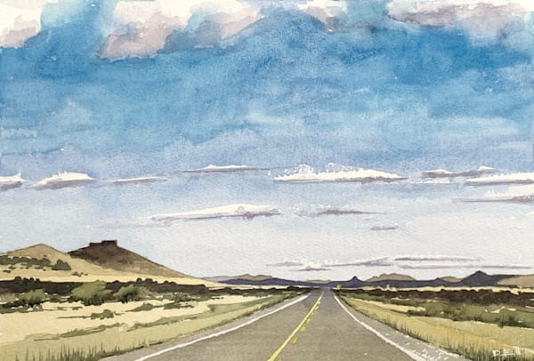 king-of-the-road, texas, watercolor, art, tx, road