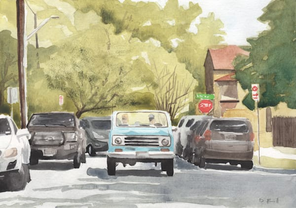 atx, austin, watercolor, blue-truck, truck, art, texas, tx