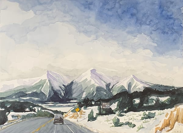 watercolor, colorado, art, co, mountains, snow, landscape