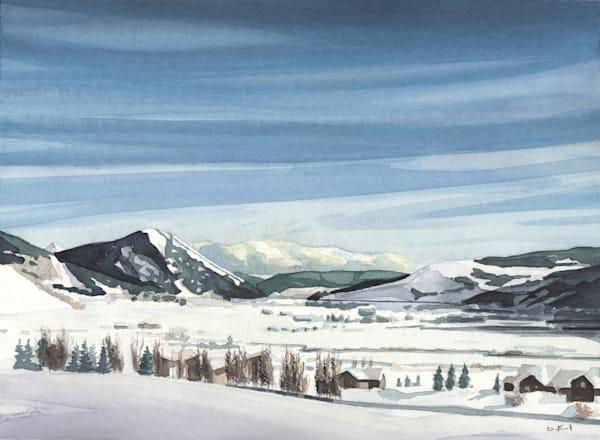 colorado, creste-butte, watercolor, art, snow, mountains