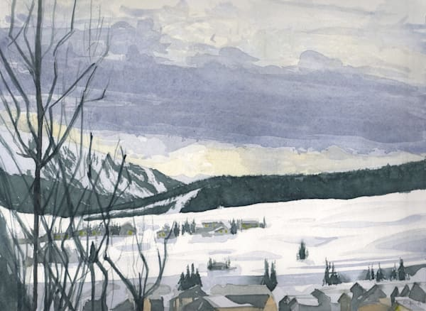 colorado, watercolor, crested-butte, mountains, snow, art