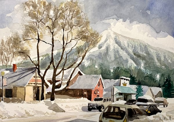 colorado, watercolor, elk, crested-butte, snow, mountains, art