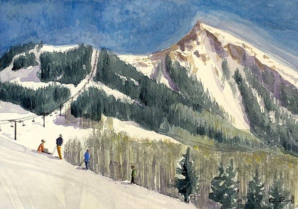 colorado, snow, mountains, ski, watercolor, art, crested-butte