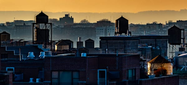 Water Towers At Sunset Looking Towards The Hudson, New York City