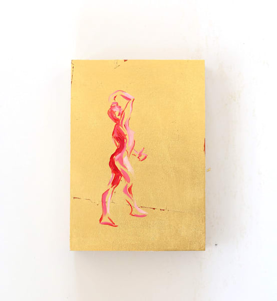 """Red Dance Figure Gold Silhouette"" Original Oil Painting on Metal Leaf 5x7"