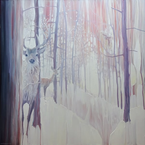white winter monarchs is a large white original oil painting with deer and an owl in a snow covered winter forest.