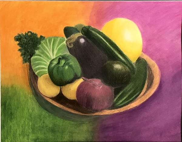 Vegetables on a Tray, Original Colored Pencil Painting