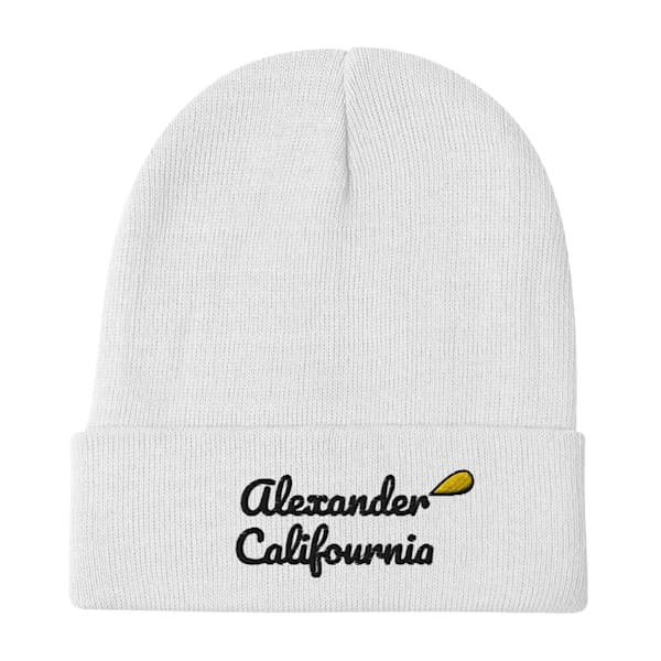 Califournia White Winter Beanie | Alex Ranniello Art