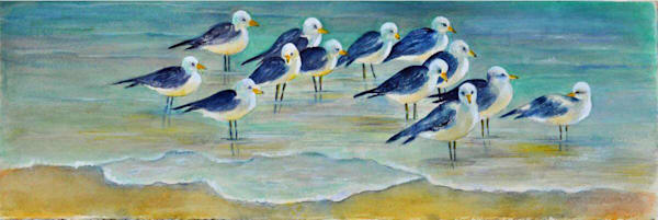 Birds On Beach, From an Original Watercolor Painting