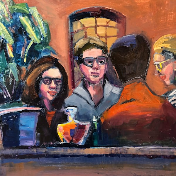 "Striking ""Happy Friends"" portrait painting of people eating Italian food series by Monique Sarkessian, oil on wood, 12x12"", Framed with a white frame, done at Trattoria San Nicola in Paoli."