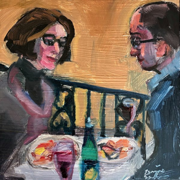 "Striking ""Happy Anniversary"" portrait painting of people eating Italian food series by Monique Sarkessian, oil on wood, 6x6"", Framed with a white frame, done at Trattoria San Nicola in Paoli."