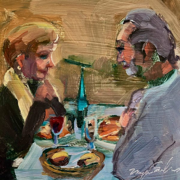 "Striking ""Happy Evening"" portrait painting of people eating Italian food series by Monique Sarkessian, oil on wood, 6x6"", Framed with a white frame, done at Trattoria San Nicola in Paoli."
