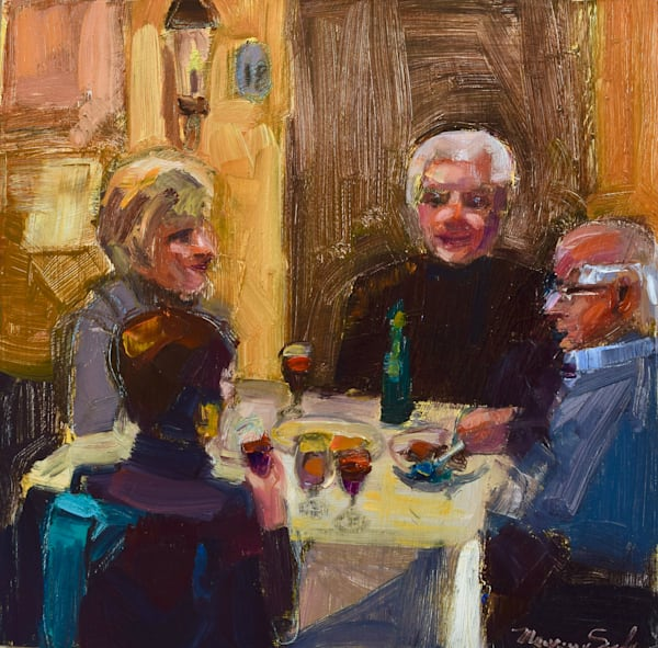 """Striking """" Happy Diners 2"""" portrait series by Monique Sarkessian, oil on wood, 12x12"""", Framed with a white frame, done at Trattoria San Nicola in Paoli."""